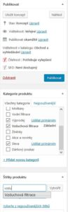 Woocommerce - Publikace produktu